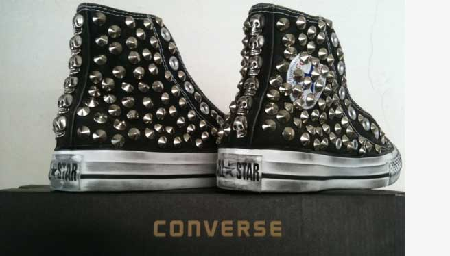 2all star converse nere alte borchie