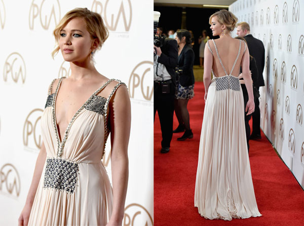 pretty nice 572f1 57b41 Jennifer Lawrence raggiante ai Producers Guild Awards 2015 ...