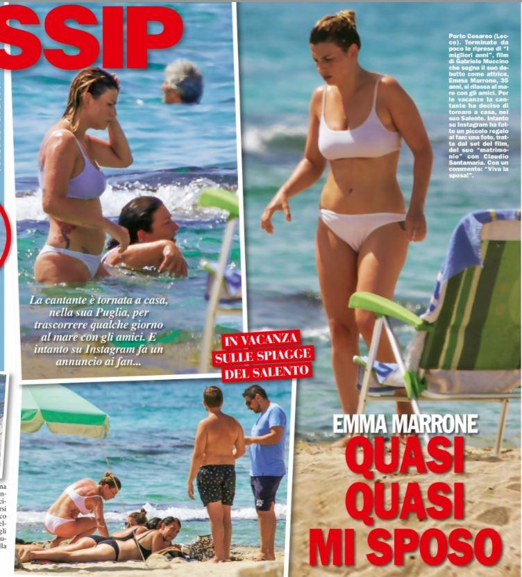 Emma Marrone in costume bianco sulle spiagge del Salento è dimagrita